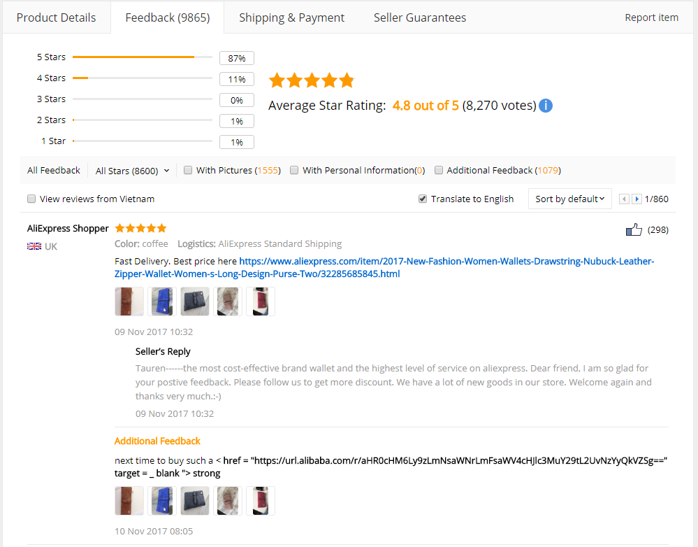 AliExpress Product Review Example