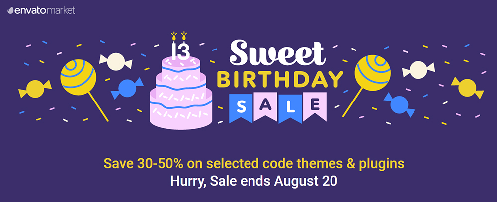 Welcome to the 13th Envato Birthday Sale